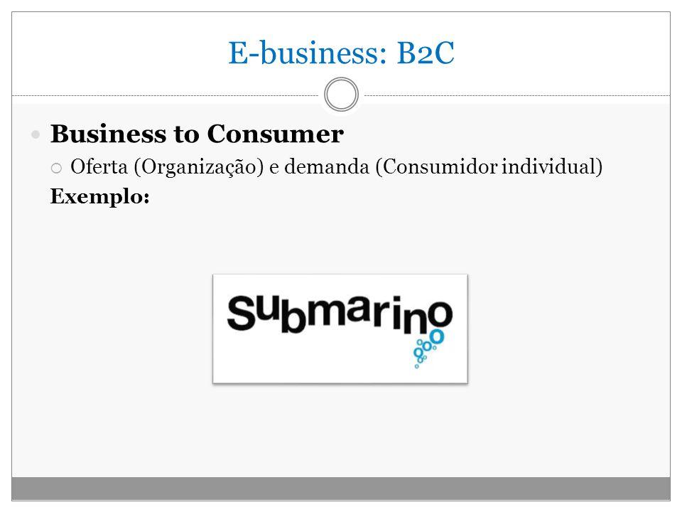 E-business: B2C Business to Consumer Oferta (Organização) e demanda (Consumidor individual) Exemplo: