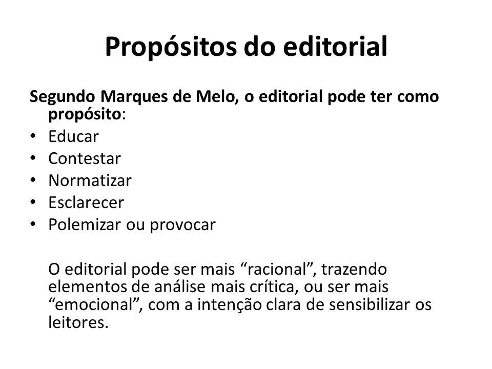 Propósitos do editorial Segundo Marques de Melo, o editorial pode ter como propósito: Educar Contestar Normatizar Esclarecer Polemizar ou provocar O e