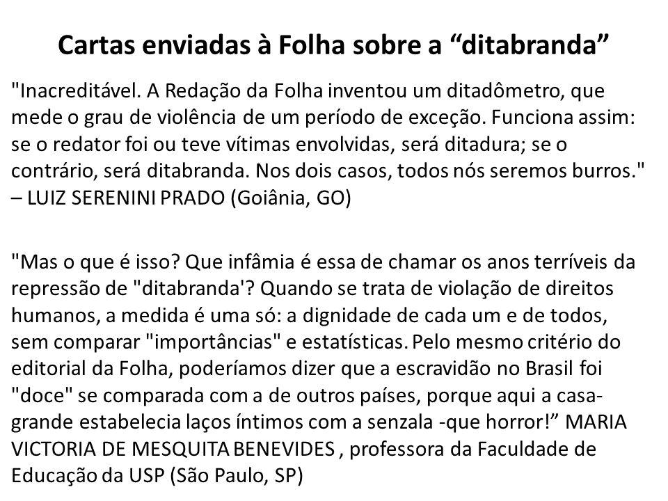 Cartas enviadas à Folha sobre a ditabranda Inacreditável.