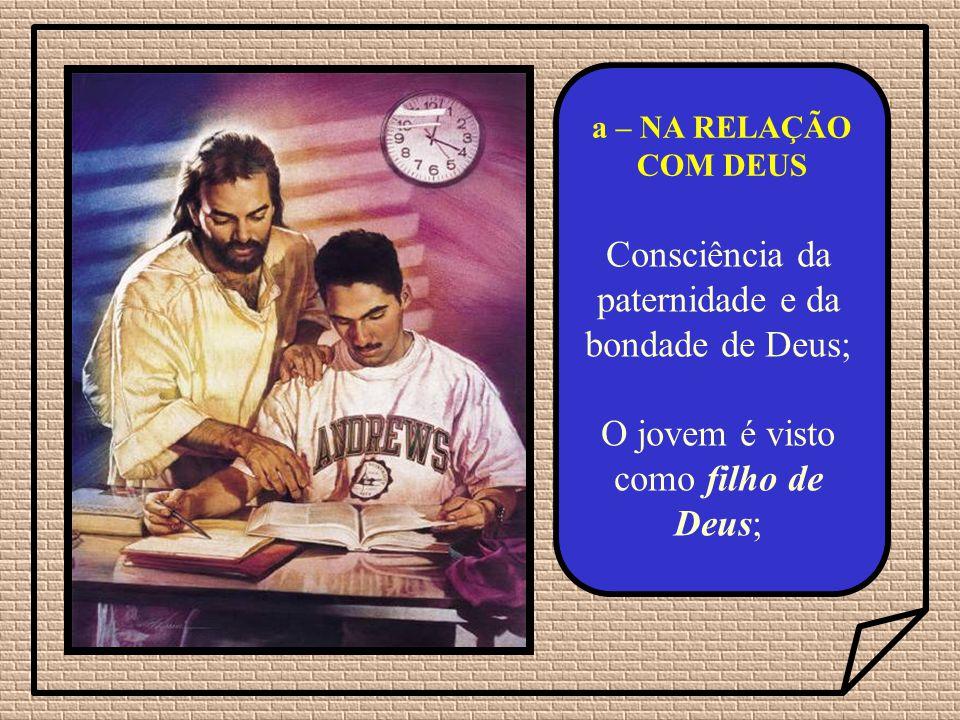 Consciência da paternidade e da bondade de Deus; O jovem é visto como filho de Deus; a – NA RELAÇÃO COM DEUS