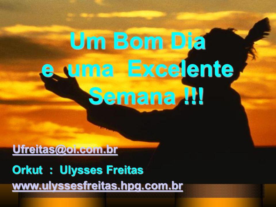Um Bom Dia e uma Excelente Semana !!! Ufreitas@oi.com.br Orkut : Ulysses Freitas www.ulyssesfreitas.hpg.com.br