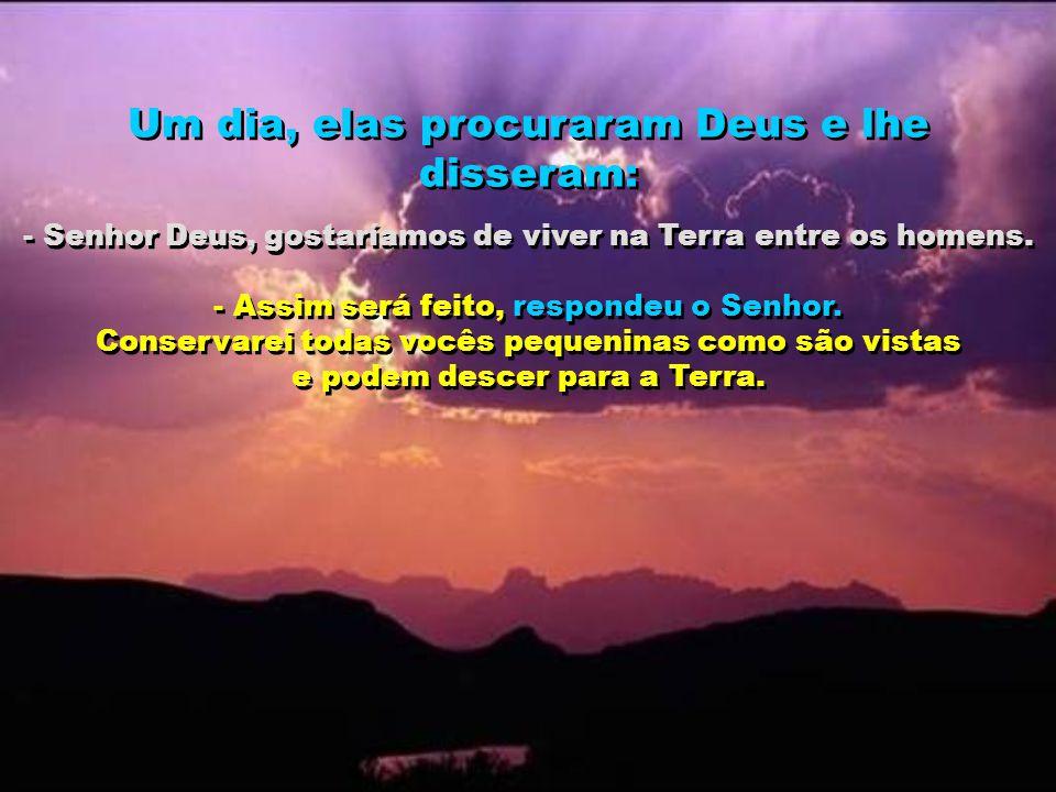 Um dia, elas procuraram Deus e lhe disseram: - Senhor Deus, gostaríamos de viver na Terra entre os homens. - Assim será feito, respondeu o Senhor. Con