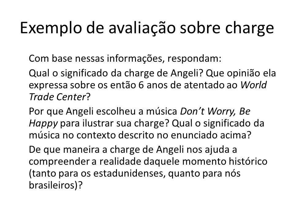 Exemplo de avaliação sobre charge Com base nessas informações, respondam: Qual o significado da charge de Angeli.