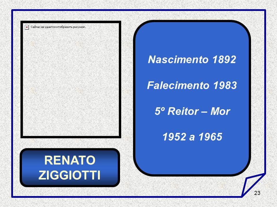 23 Nascimento 1892 Falecimento 1983 5º Reitor – Mor 1952 a 1965 RENATO ZIGGIOTTI
