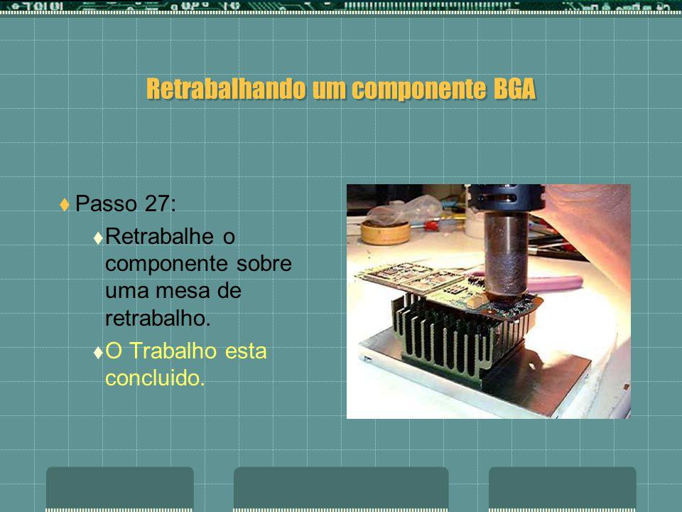 Retrabalhando um componente BGA Passo 26: Insira o componente com a ajuda de uma lupa ou microscópio para que fique bem colocado sobre os pontos de soldagem.