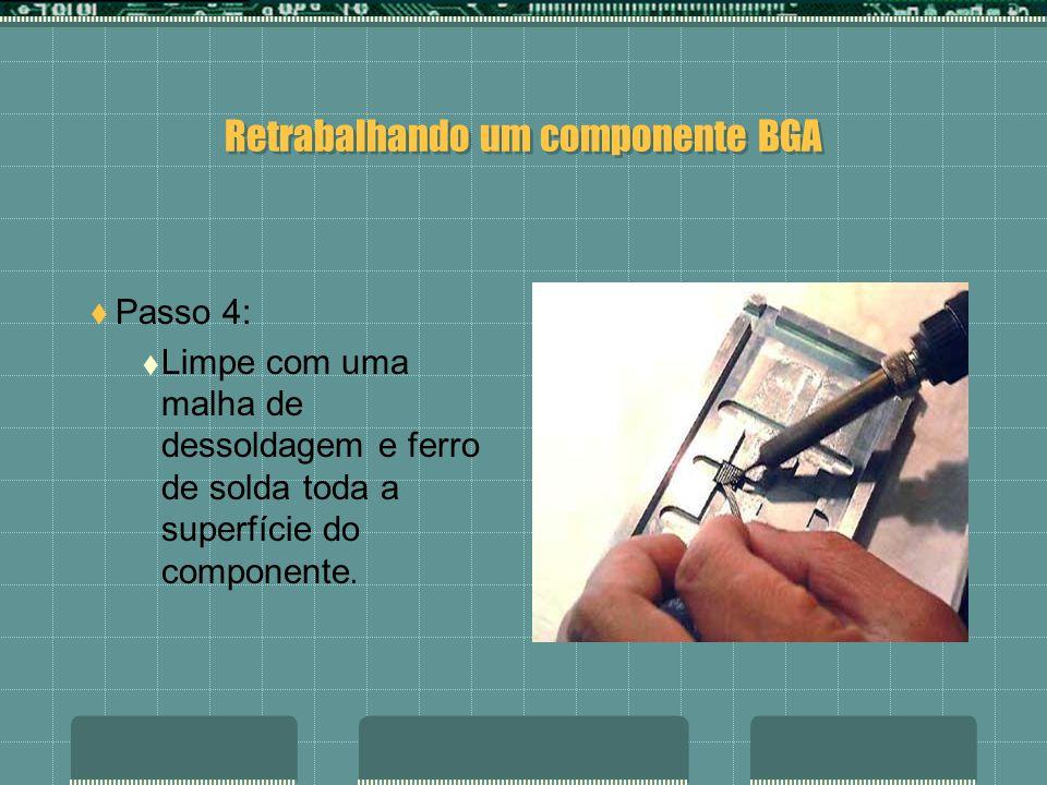 Retrabalhando um componente BGA Passo 3: Coloque o chip na placa base SMD fixando-o.