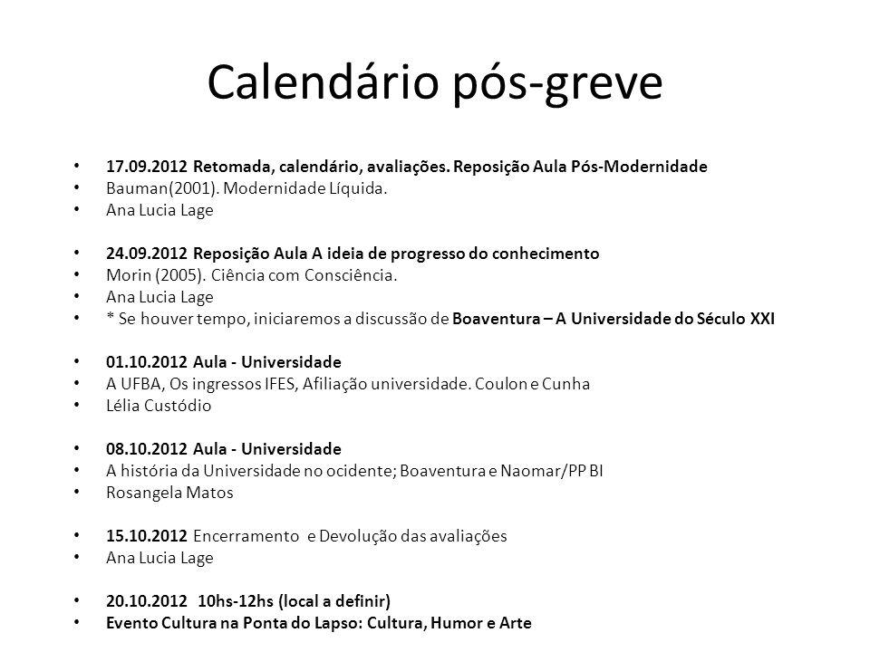 Calendário pós-greve 17.09.2012 Retomada, calendário, avaliações. Reposição Aula Pós-Modernidade Bauman(2001). Modernidade Líquida. Ana Lucia Lage 24.