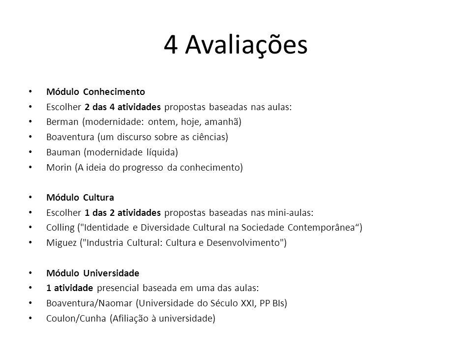 4 Avaliações Módulo Conhecimento Escolher 2 das 4 atividades propostas baseadas nas aulas: Berman (modernidade: ontem, hoje, amanhã) Boaventura (um di