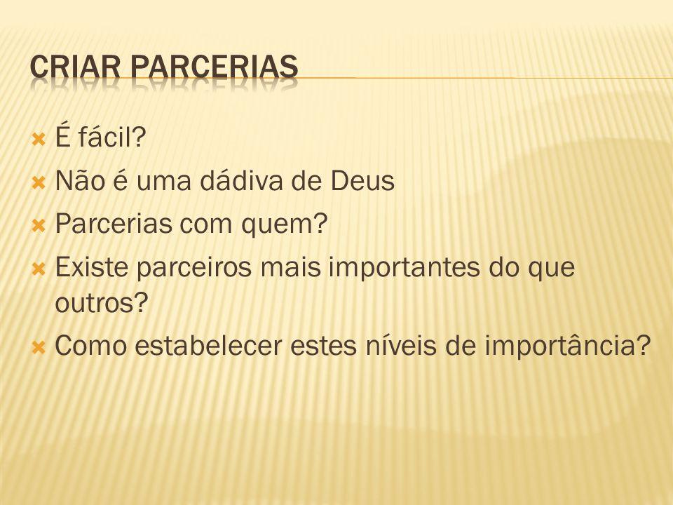É fácil? Não é uma dádiva de Deus Parcerias com quem? Existe parceiros mais importantes do que outros? Como estabelecer estes níveis de importância?