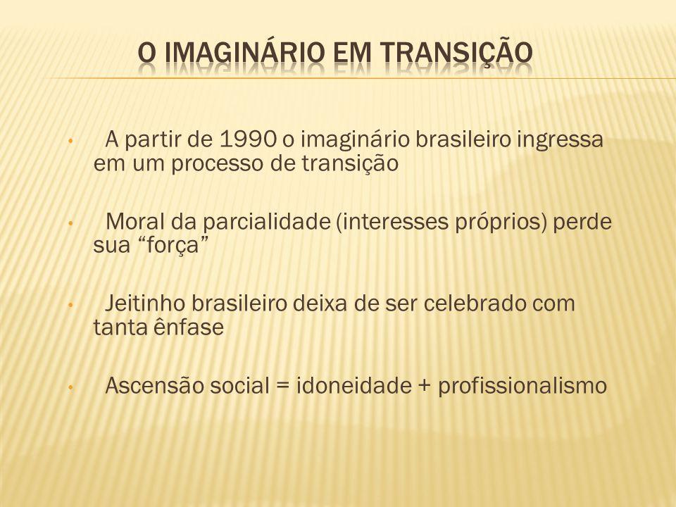 A partir de 1990 o imaginário brasileiro ingressa em um processo de transição Moral da parcialidade (interesses próprios) perde sua força Jeitinho bra