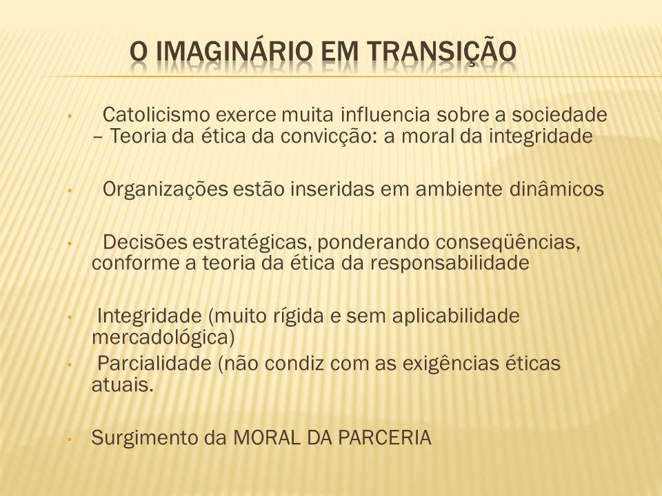 Catolicismo exerce muita influencia sobre a sociedade – Teoria da ética da convicção: a moral da integridade Organizações estão inseridas em ambiente