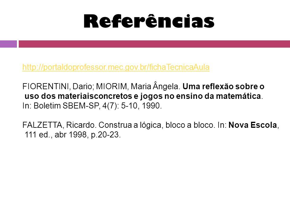 Referências http://portaldoprofessor.mec.gov.br/fichaTecnicaAula FIORENTINI, Dario; MIORIM, Maria Ângela.
