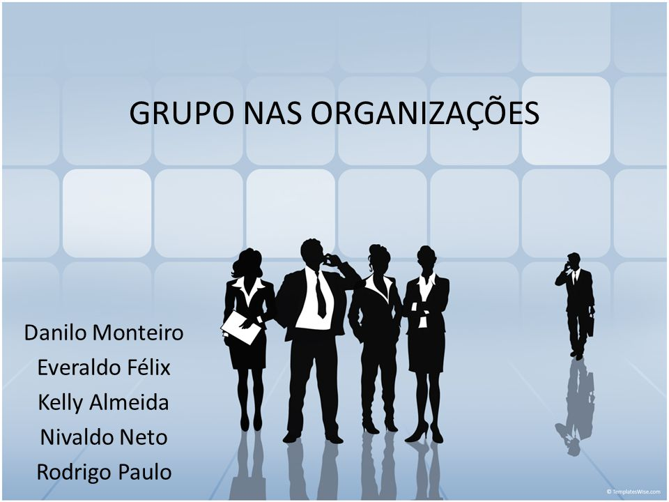 GRUPO NAS ORGANIZAÇÕES Danilo Monteiro Everaldo Félix Kelly Almeida Nivaldo Neto Rodrigo Paulo