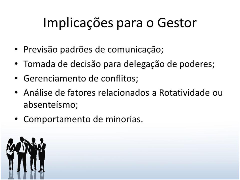 Implicações para o Gestor Previsão padrões de comunicação; Tomada de decisão para delegação de poderes; Gerenciamento de conflitos; Análise de fatores relacionados a Rotatividade ou absenteísmo; Comportamento de minorias.
