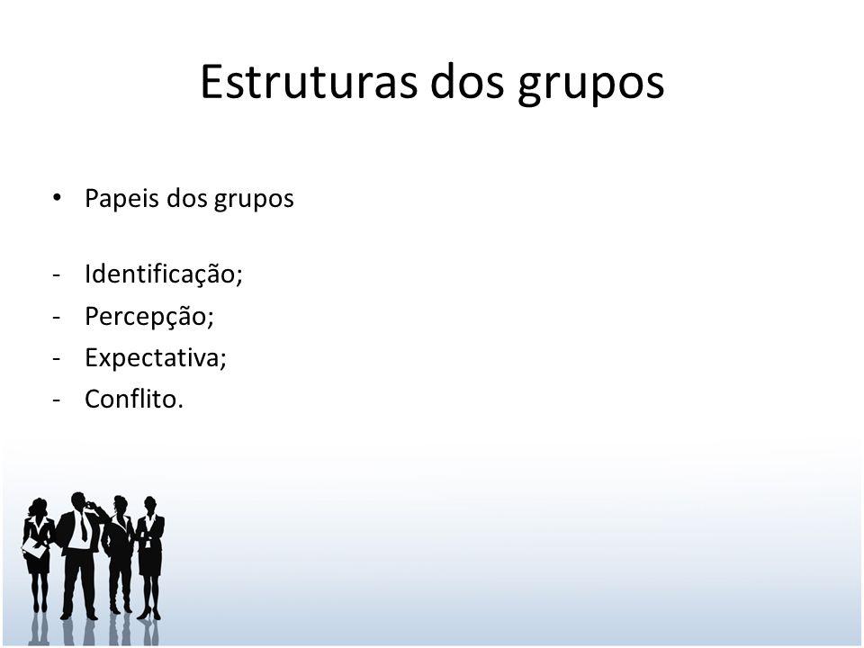 Estruturas dos grupos Papeis dos grupos -Identificação; -Percepção; -Expectativa; -Conflito.