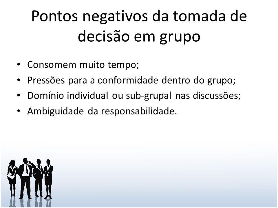 Pontos negativos da tomada de decisão em grupo Consomem muito tempo; Pressões para a conformidade dentro do grupo; Domínio individual ou sub-grupal nas discussões; Ambiguidade da responsabilidade.