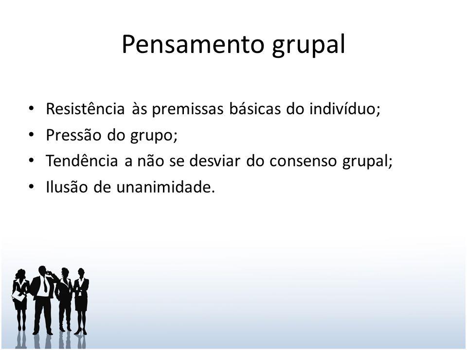 Pensamento grupal Resistência às premissas básicas do indivíduo; Pressão do grupo; Tendência a não se desviar do consenso grupal; Ilusão de unanimidade.