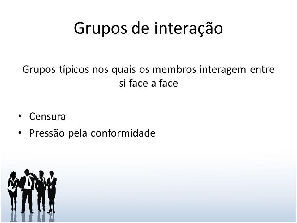 Grupos de interação Grupos típicos nos quais os membros interagem entre si face a face Censura Pressão pela conformidade