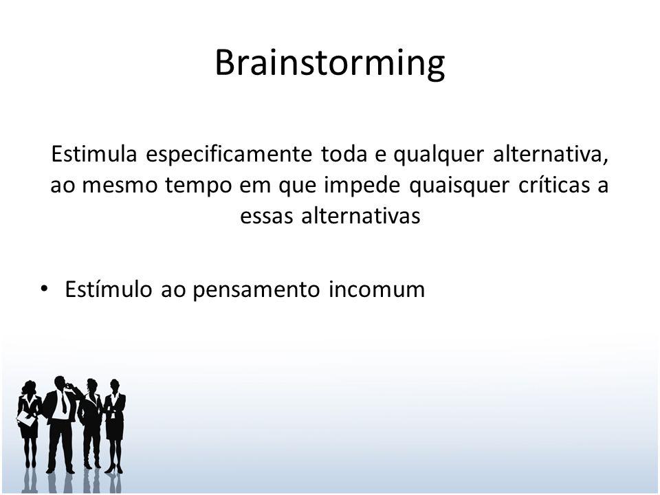 Brainstorming Estimula especificamente toda e qualquer alternativa, ao mesmo tempo em que impede quaisquer críticas a essas alternativas Estímulo ao pensamento incomum