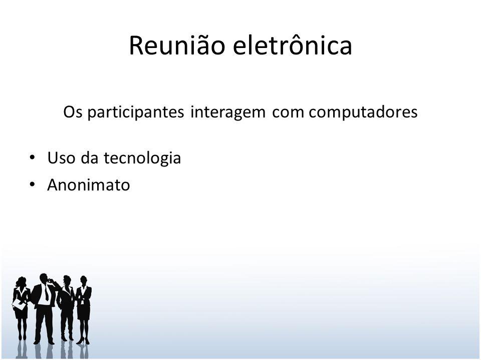 Reunião eletrônica Os participantes interagem com computadores Uso da tecnologia Anonimato