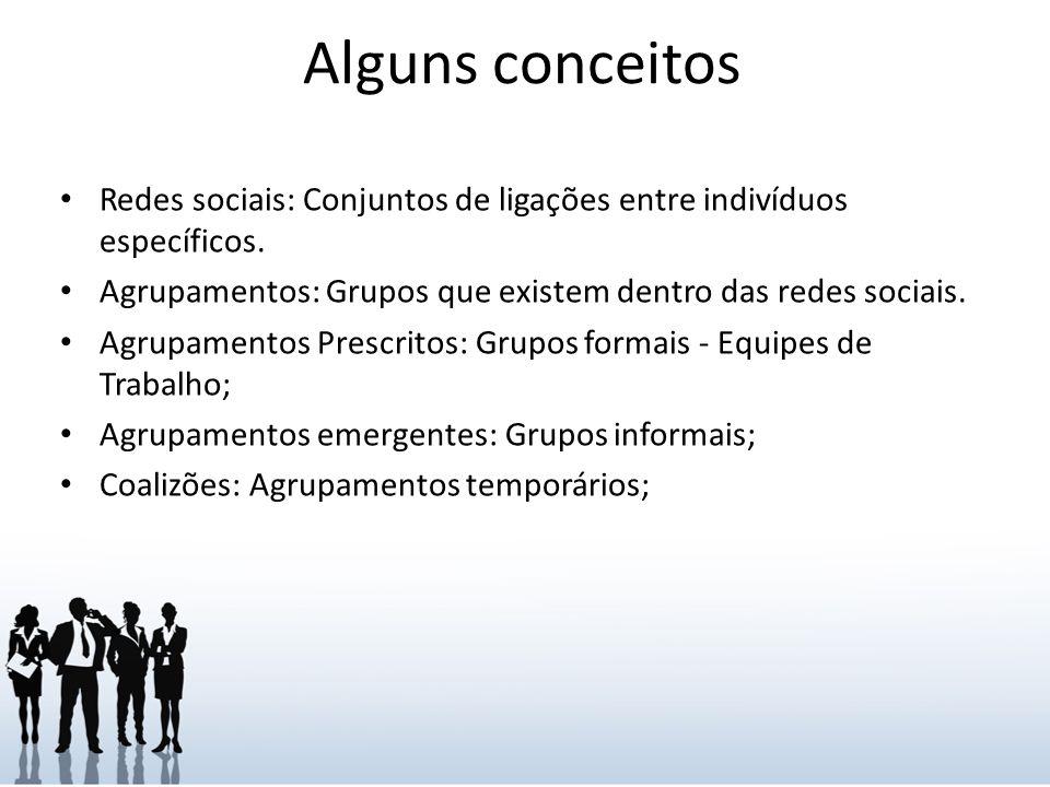 Alguns conceitos Panelinhas: Agrupamentos informais que envolvem amizade; Estrelas: Indivíduo com a maioria das ligações numa rede; Ligações: Indivíduo conector de Agrupamentos mas, não pertencente a nenhum.