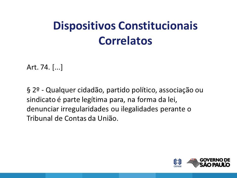 Dispositivos Constitucionais Correlatos Art. 74. [...] § 2º - Qualquer cidadão, partido político, associação ou sindicato é parte legítima para, na fo
