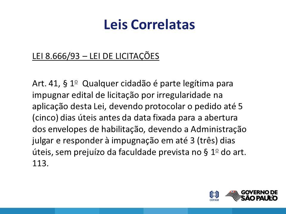 Leis Correlatas LEI 8.666/93 – LEI DE LICITAÇÕES Art. 41, § 1 o Qualquer cidadão é parte legítima para impugnar edital de licitação por irregularidade