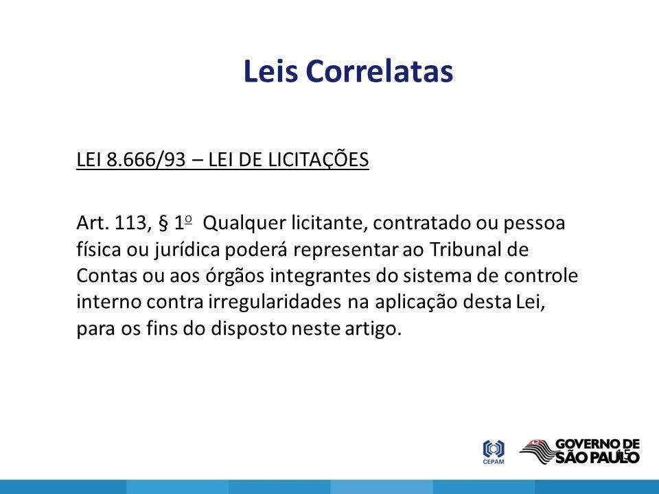 Leis Correlatas LEI 8.666/93 – LEI DE LICITAÇÕES Art. 113, § 1 o Qualquer licitante, contratado ou pessoa física ou jurídica poderá representar ao Tri