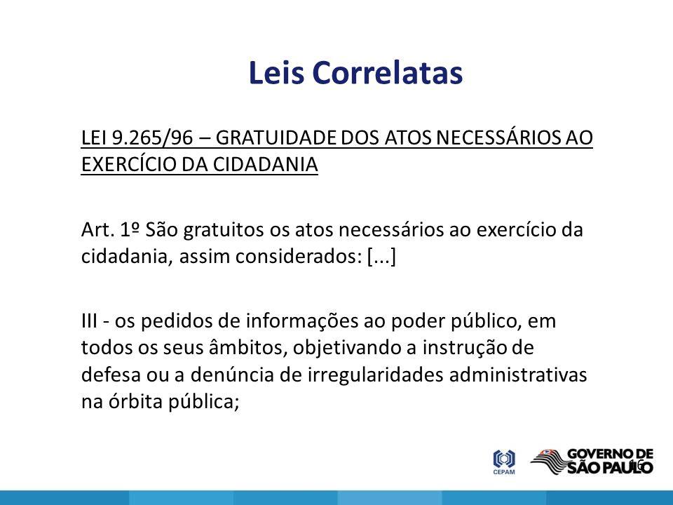 Leis Correlatas LEI 9.265/96 – GRATUIDADE DOS ATOS NECESSÁRIOS AO EXERCÍCIO DA CIDADANIA Art. 1º São gratuitos os atos necessários ao exercício da cid