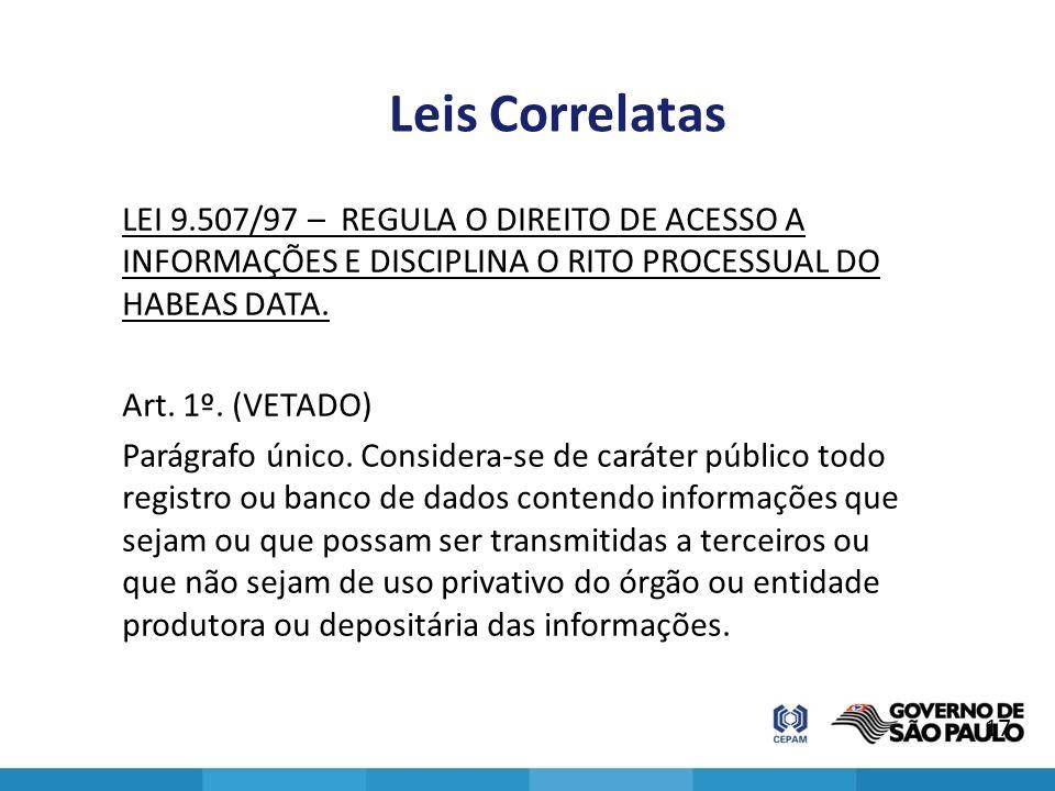Leis Correlatas LEI 9.507/97 – REGULA O DIREITO DE ACESSO A INFORMAÇÕES E DISCIPLINA O RITO PROCESSUAL DO HABEAS DATA. Art. 1º. (VETADO) Parágrafo úni