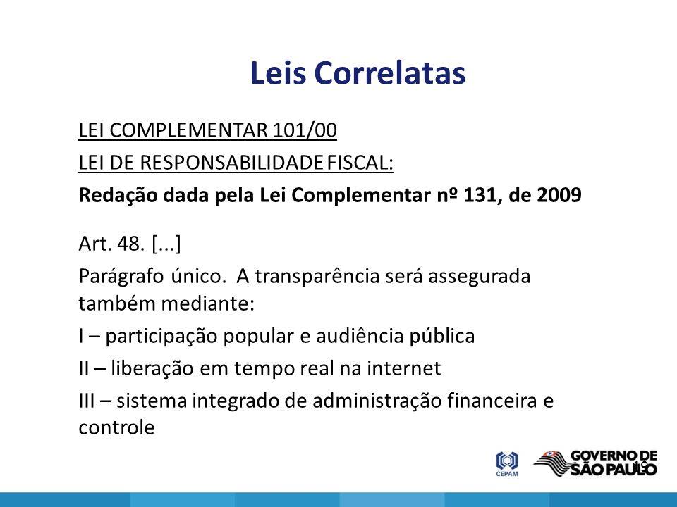Leis Correlatas LEI COMPLEMENTAR 101/00 LEI DE RESPONSABILIDADE FISCAL: Redação dada pela Lei Complementar nº 131, de 2009 Art. 48. [...] Parágrafo ún