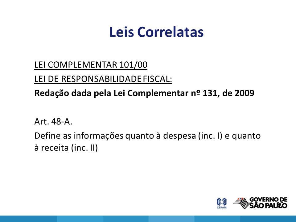 Leis Correlatas LEI COMPLEMENTAR 101/00 LEI DE RESPONSABILIDADE FISCAL: Redação dada pela Lei Complementar nº 131, de 2009 Art. 48-A. Define as inform