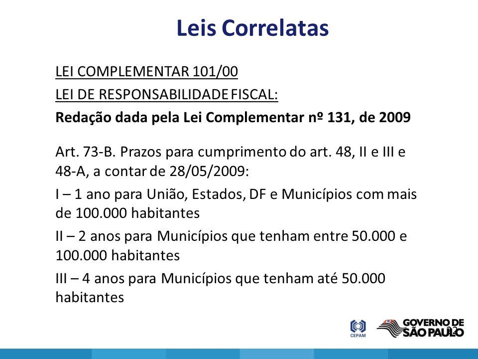 Leis Correlatas LEI COMPLEMENTAR 101/00 LEI DE RESPONSABILIDADE FISCAL: Redação dada pela Lei Complementar nº 131, de 2009 Art. 73-B. Prazos para cump