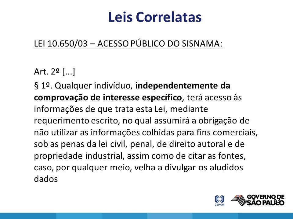 Leis Correlatas LEI 10.650/03 – ACESSO PÚBLICO DO SISNAMA: Art. 2º [...] § 1º. Qualquer indivíduo, independentemente da comprovação de interesse espec