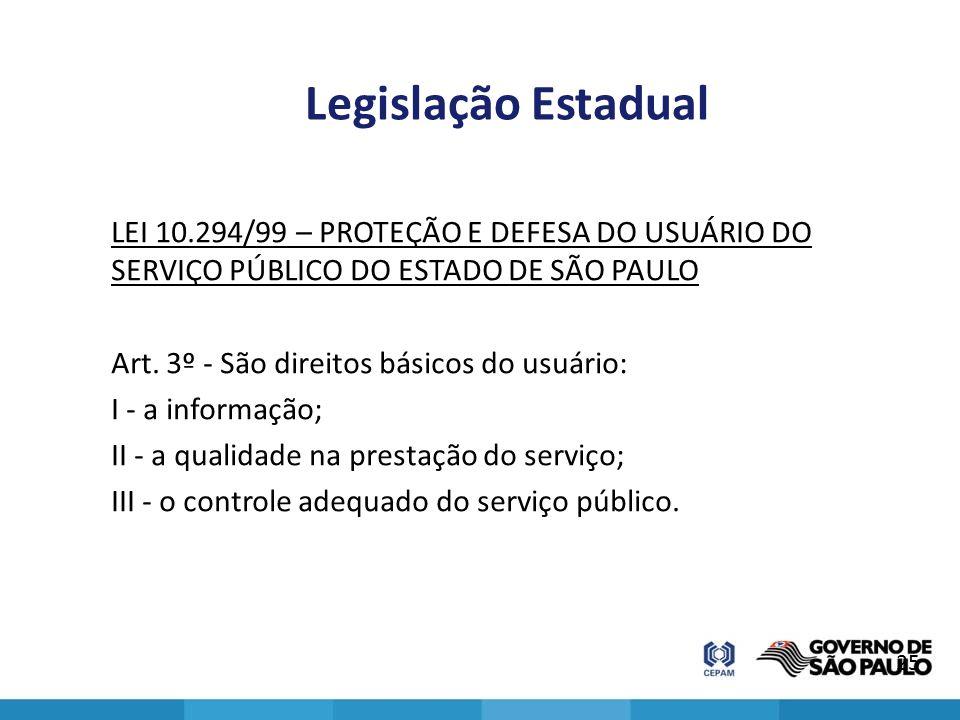 Legislação Estadual LEI 10.294/99 – PROTEÇÃO E DEFESA DO USUÁRIO DO SERVIÇO PÚBLICO DO ESTADO DE SÃO PAULO Art. 3º - São direitos básicos do usuário: