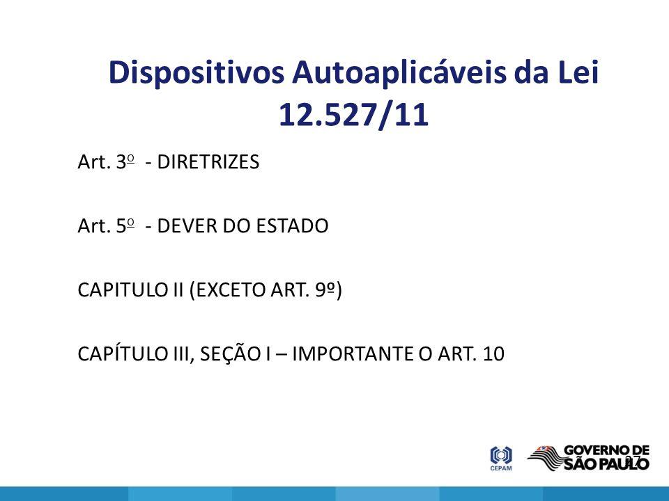 Dispositivos Autoaplicáveis da Lei 12.527/11 Art. 3 o - DIRETRIZES Art. 5 o - DEVER DO ESTADO CAPITULO II (EXCETO ART. 9º) CAPÍTULO III, SEÇÃO I – IMP