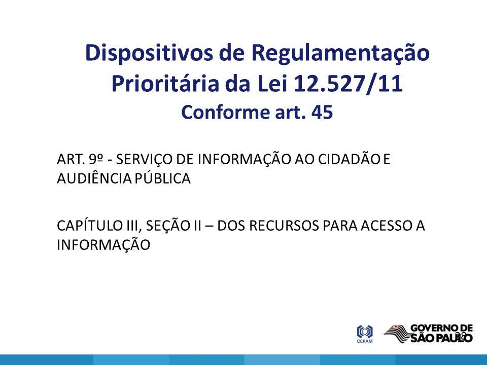Dispositivos de Regulamentação Prioritária da Lei 12.527/11 Conforme art. 45 ART. 9º - SERVIÇO DE INFORMAÇÃO AO CIDADÃO E AUDIÊNCIA PÚBLICA CAPÍTULO I
