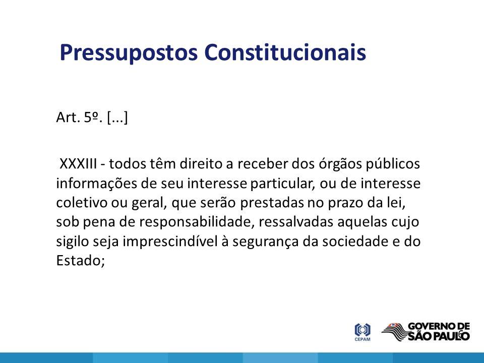Pressupostos Constitucionais Art. 5º. [...] XXXIII - todos têm direito a receber dos órgãos públicos informações de seu interesse particular, ou de in