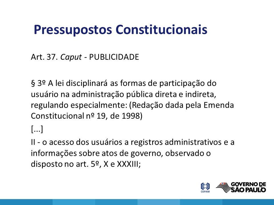 Pressupostos Constitucionais Art. 37. Caput - PUBLICIDADE § 3º A lei disciplinará as formas de participação do usuário na administração pública direta