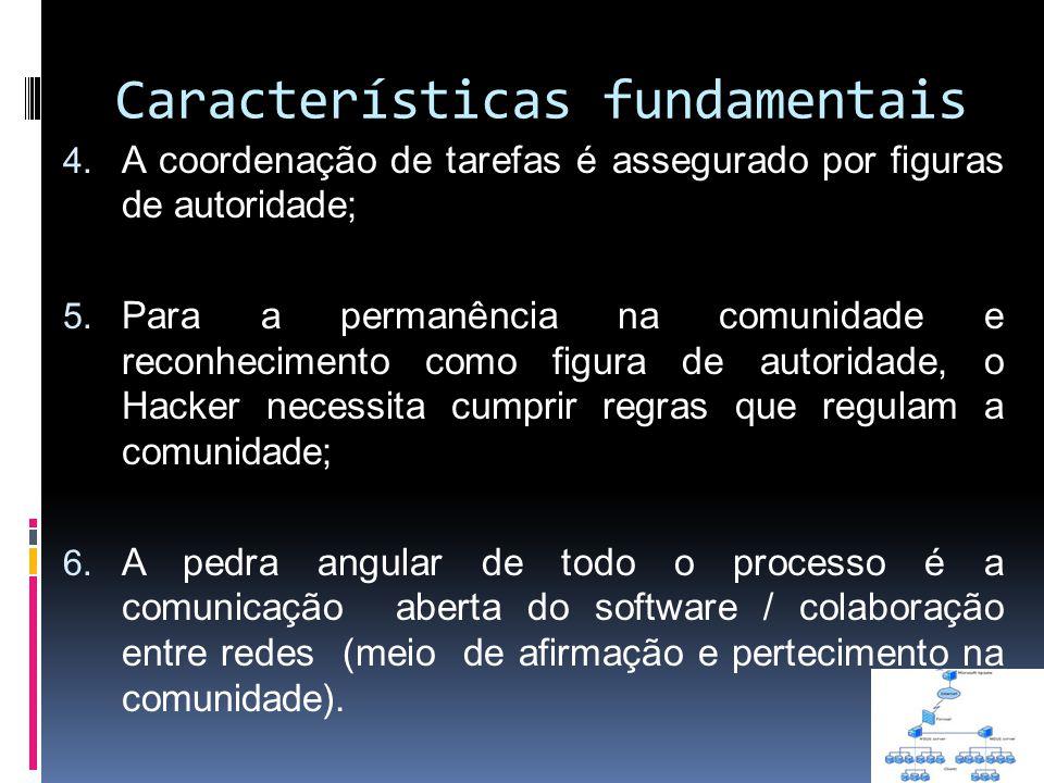 Características fundamentais 4. A coordenação de tarefas é assegurado por figuras de autoridade; 5. Para a permanência na comunidade e reconhecimento