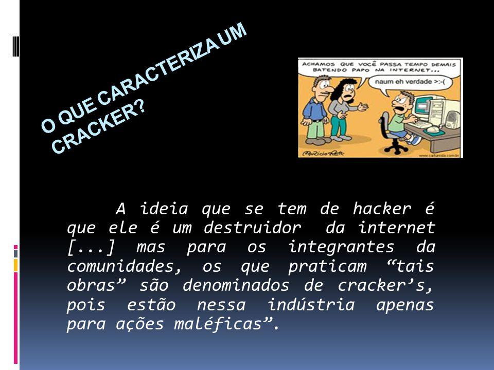 O QUE CARACTERIZA UM CRACKER? A ideia que se tem de hacker é que ele é um destruidor da internet [...] mas para os integrantes da comunidades, os que