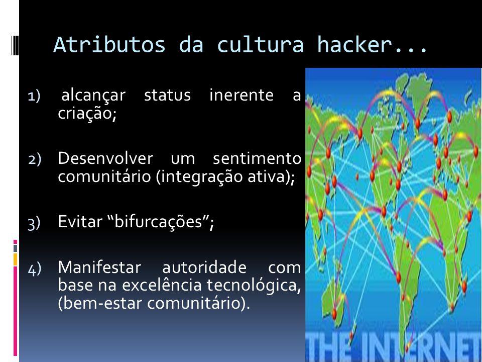 Atributos da cultura hacker... 1) alcançar status inerente a criação; 2) Desenvolver um sentimento comunitário (integração ativa); 3) Evitar bifurcaçõ