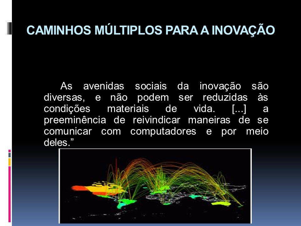 CAMINHOS MÚLTIPLOS PARA A INOVAÇÃO As avenidas sociais da inovação são diversas, e não podem ser reduzidas às condições materiais de vida. [...] a pre