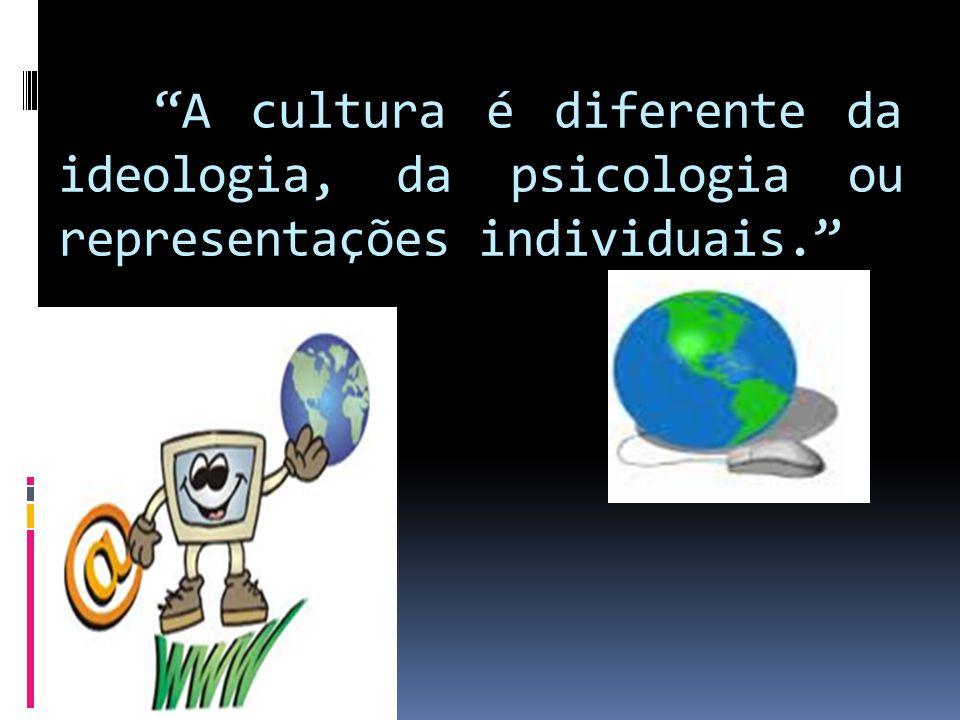 A cultura é diferente da ideologia, da psicologia ou representações individuais.