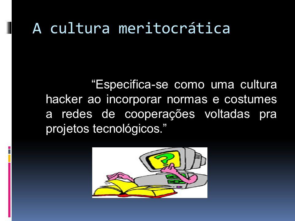 A cultura meritocrática Especifica-se como uma cultura hacker ao incorporar normas e costumes a redes de cooperações voltadas pra projetos tecnológicos.