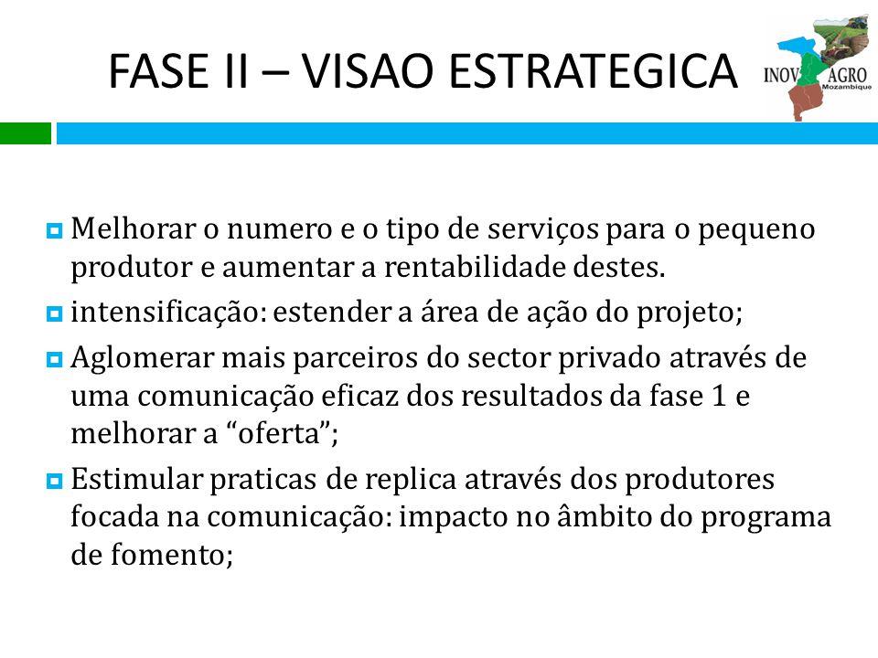 FASE II – VISAO ESTRATEGICA Melhorar o numero e o tipo de serviços para o pequeno produtor e aumentar a rentabilidade destes. intensificação: estender