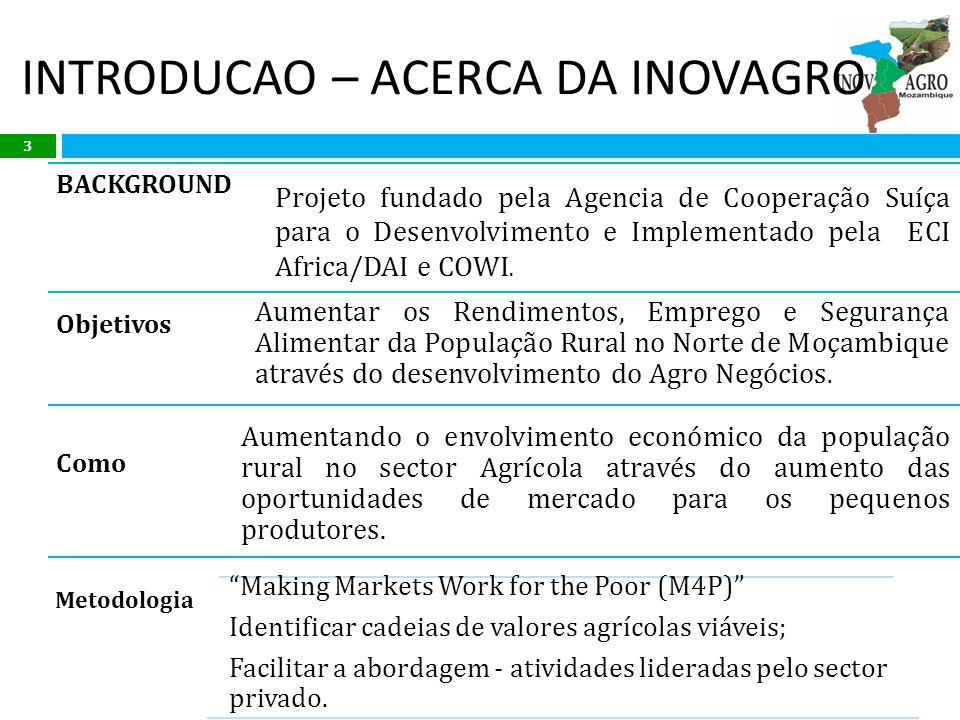 INTRODUCAO – ACERCA DA INOVAGRO BACKGROUND Projeto fundado pela Agencia de Cooperação Suíça para o Desenvolvimento e Implementado pela ECI Africa/DAI