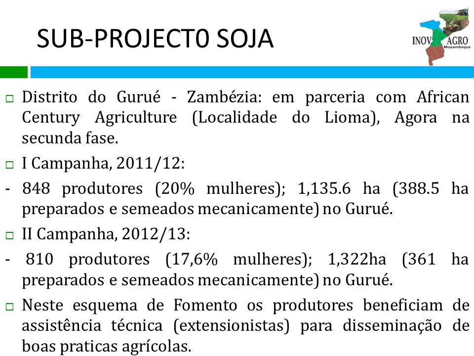 Subprojecto da Soja contin… Contratos futuros custos de insumos e preço de compra; Mercado garantido; Mecanização – preparação da terra, sementeira e debulha (2ha); Serviço de extensão e Transporte.