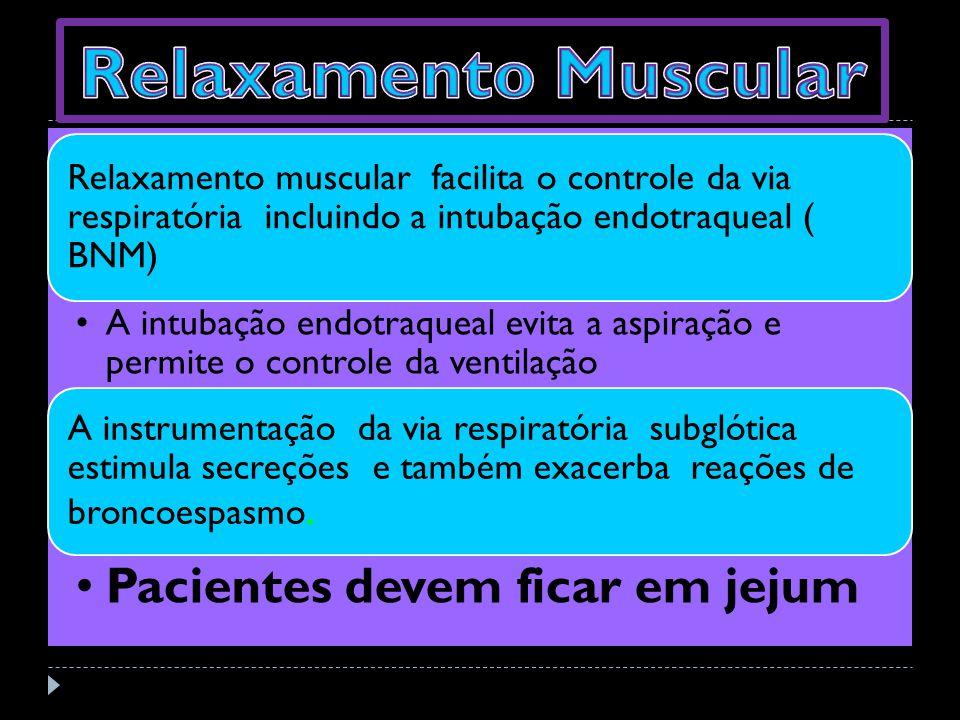 Relaxamento muscular facilita o controle da via respiratória incluindo a intubação endotraqueal ( BNM) A intubação endotraqueal evita a aspiração e pe