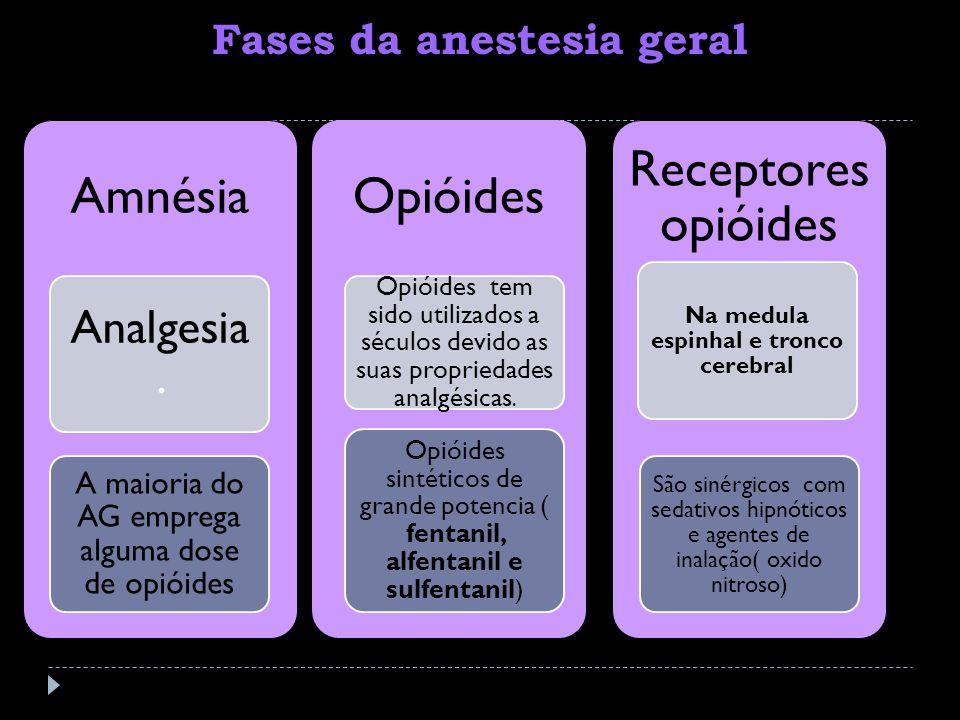 Amnésia Analgesia. A maioria do AG emprega alguma dose de opióides Opióides Opióides tem sido utilizados a séculos devido as suas propriedades analgés